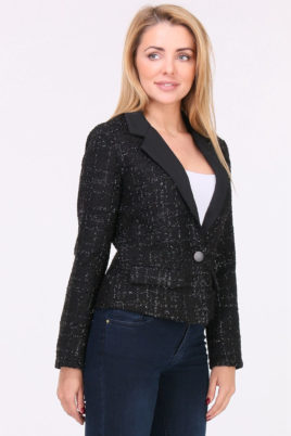 Lovie & Co schwarzer Damen Blazer mit Metallic Effekt – Kurzblazer Business & Casual – Vorderansicht