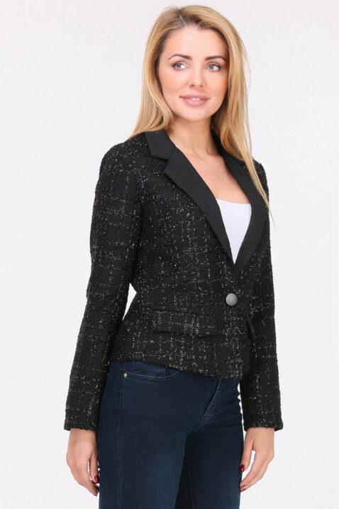 Schwarzer Damen Blazer mit Metallic Effekt - Kurzblazer Business & Casual von Lovie & Co - Vorderansicht