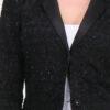 Schwarzer Damen Longblazer mit Glanz-Metallic-Effekt - Langer Blazer Business & Casual von Lovie & Co - Detailansicht