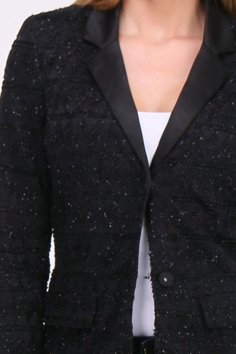 Schwarzer Damen Longblazer mit Glanz-Metallic-Effekt - Langer Blazer Business & Casual von Lovie & Co - Detailansicht