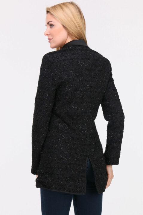 Schwarzer Damen Longblazer mit Glanz-Metallic-Effekt - Langer Blazer Business & Casual von Lovie & Co - Rückenansicht