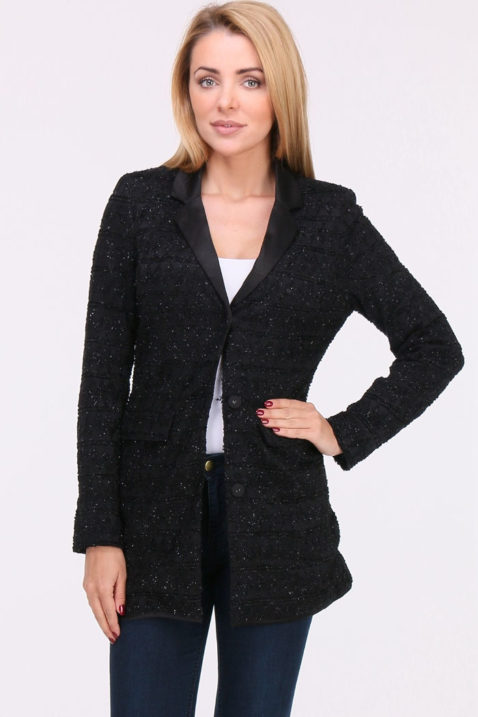 Schwarzer Damen Longblazer mit Glanz-Metallic-Effekt - Langer Blazer Business & Casual von Lovie & Co - Vorderansicht