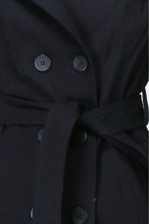 Marineblauer navy Damen Trenchcoat mit Bindegürtel - Mantel von LuluCastagnette - Detailansicht