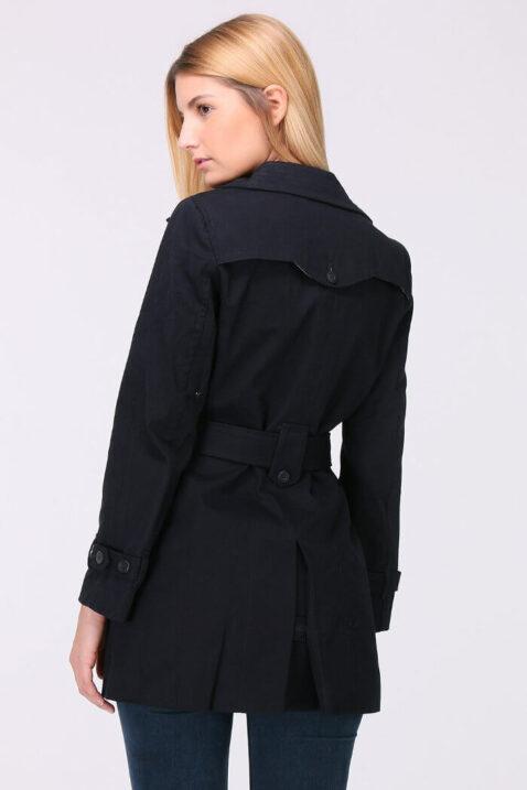 Marineblauer navy Damen Trenchcoat mit Bindegürtel - Mantel von LuluCastagnette - Rückenansicht