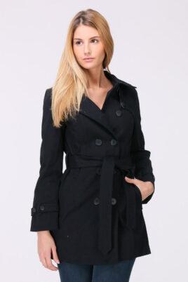 LuluCastagnette marineblauer navy Damen Trenchcoat mit Bindegürtel – Mantel – Vorderansicht