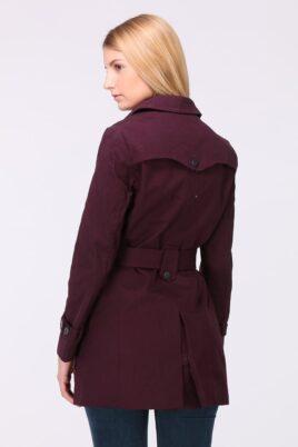 Bordeaux roter Damen Trenchcoat mit Bindegürtel - Mantel von LuluCastagnette - Rückenansicht