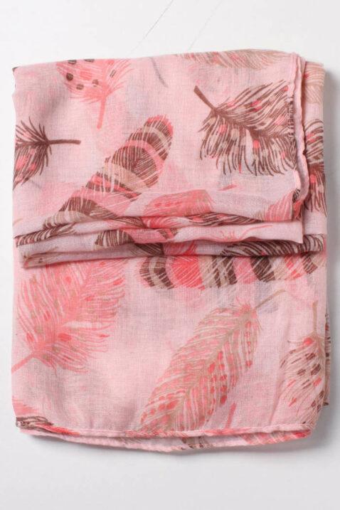 Rosa Damen Schal mit Blätter-Print - Modeschal von Lil Moon - Detailansicht