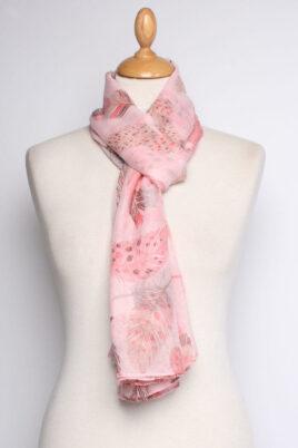 Lil Moon rosa Damen Schal mit Blätter-Print – Modeschal – Ganzansicht