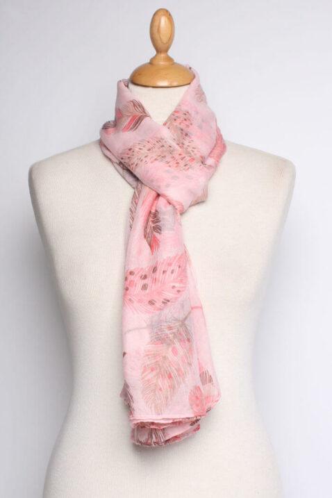 Rosa Damen Schal mit Blätter-Print - Modeschal von Lil Moon - Ganzansicht