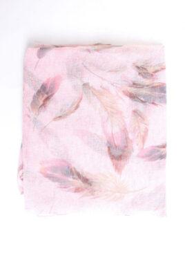 Rosa Damen Schal mit Feder-Muster - Modeschal von Lil Moon - Detailansicht