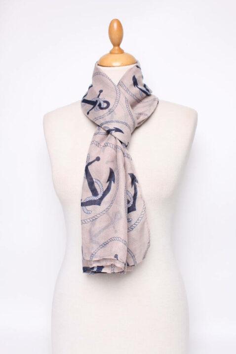 Taupe Damen Schal mit Anker-Motiv - Modeschal von Lil Moon - Ganzansicht