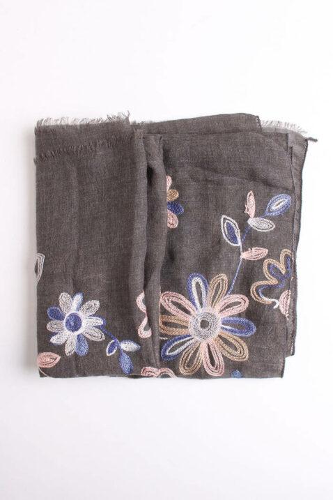 Dunkelgrauer Damen Schal mit Blumenmuster - Modeschal aus Viskose von Lil Moon - Detailansicht