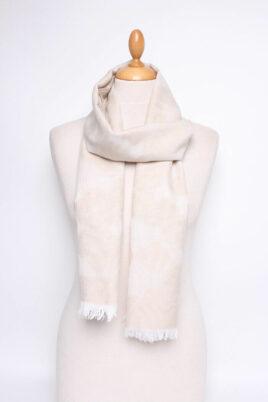 Lil Moon beiger Damen Schal gemustert mit weißen Fransen – Modeschal – Ganzansicht