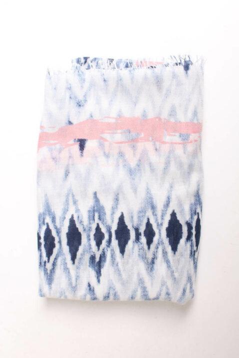 Blauer leichter Damen Schal im Batik-Look - Modeschal von Lil Moon - Detailansicht