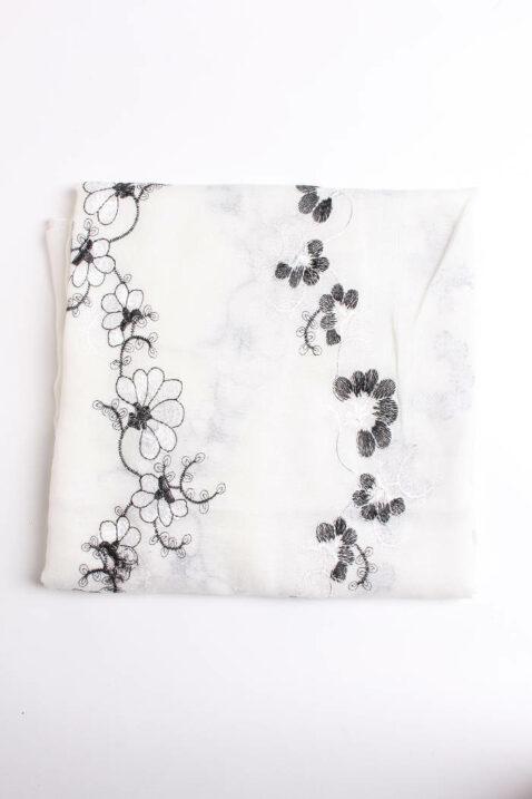 Weißer leichter Damen Schal mit Blumen-Stickerei - Modeschal von Lil Moon - Detailansicht