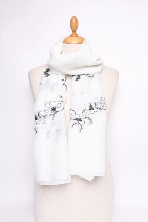 Weißer leichter Damen Schal mit Blumen-Stickerei - Modeschal von Lil Moon - Ganzansicht