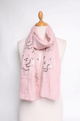 Lil Moon rosa leichter Damen Schal mit Lurex & Pailetten – Modeschal – Ganzansicht