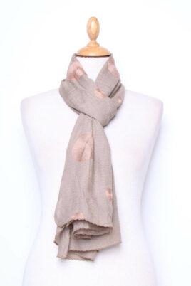 Lil Moon taupe leichter Damen Schal mit Kreis Stickerei – Modeschal – Ganzansicht