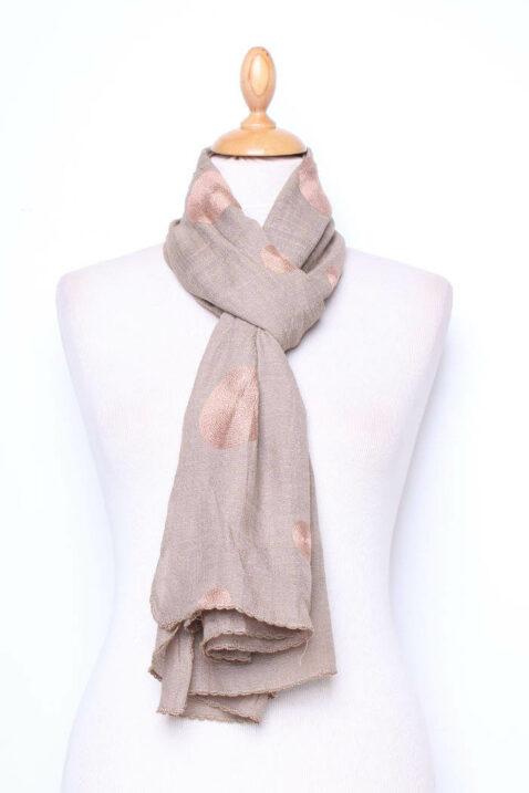 Taupe leichter Damen Schal mit Kreis Stickerei - Modeschal von Lil Moon - Ganzansicht