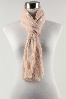 Lil Moon rosa leichter Damen Schal mit Schmetterlingen – Modeschal – Ganzansicht