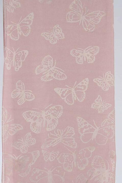Rosa leichter Damen Schal mit Schmetterlingen goldfarbig - Modeschal von Lil Moon - Detailansicht