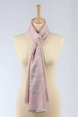 Lil Moon rosa leichter Damen Schal mit Schmetterlingen goldfarbig – Modeschal – Ganzansicht
