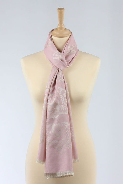 Rosa leichter Damen Schal mit Schmetterlingen goldfarbig - Modeschal von Lil Moon - Ganzansicht
