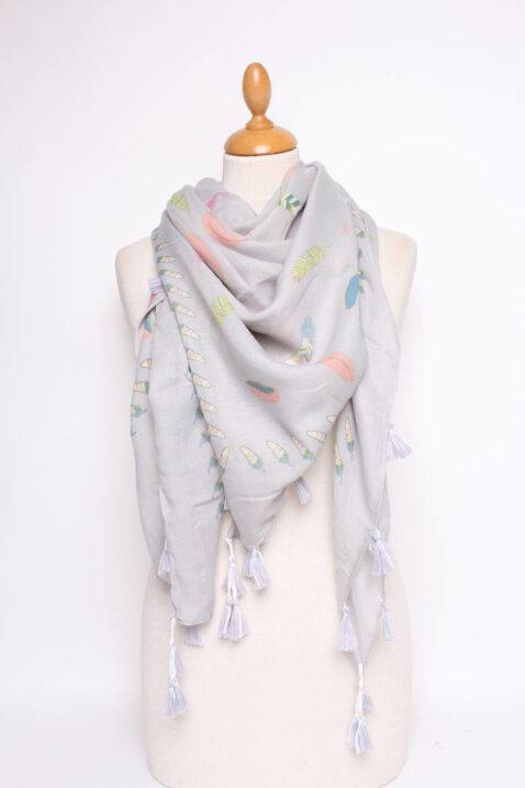 Hellgrauer leichter Damen Schal mit kleinen Bommel gemustert - Modeschal von Lil Moon - Ganzansicht