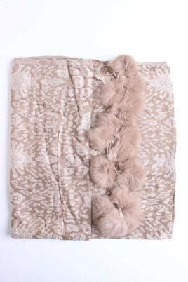 Taupe brauner Damen Schal mit Bommeln gemustert - Modeschal von Lil Moon - Detailansicht