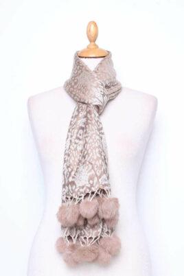 Lil Moon taupe brauner Damen Schal mit Bommeln gemustert – Modeschal – Ganzansicht