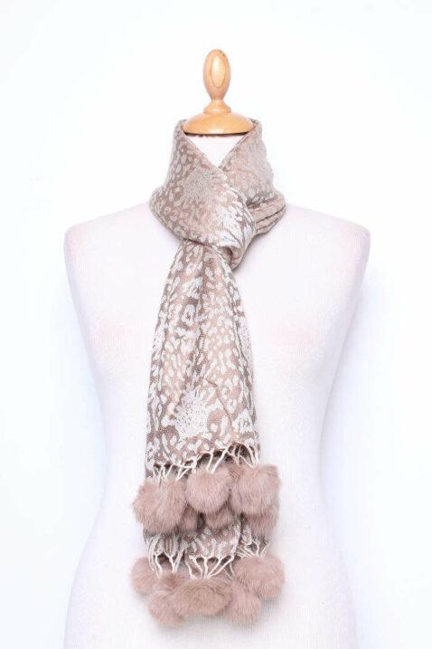 Taupe brauner Damen Schal mit Bommeln gemustert - Modeschal von Lil Moon - Ganzansicht