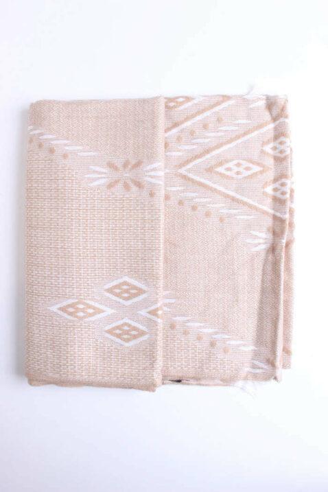 Beiger Damen Schal gemustert gefranster Saum - Modeschal von Lil Moon - Detailansicht