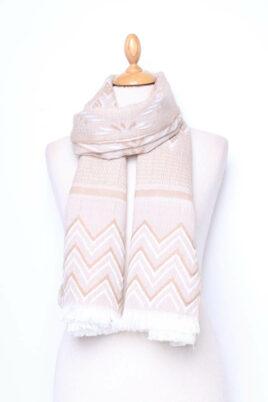 Lil Moon beiger Damen Schal gemustert gefranster Saum – Modeschal – Ganzansicht