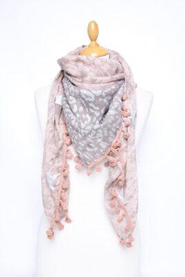 Lil Moon rosa Damen Schal mit Quasten, Sternen & Leopardenmuster – Modeschal – Ganzansicht