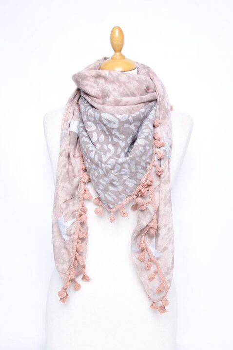Rosa Damen Schal mit Quasten, Sternen & Leopardenmuster - Modeschal von Lil Moon - Ganzansicht