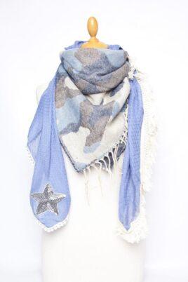 Lil Moon blauer Damen Schal in Kuhflecken-Optik mit Sternen aus Pailletten – Modeschal – Ganzansicht