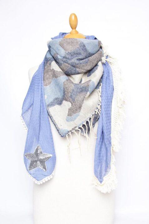 Blauer Damen Schal in Kuhflecken-Optik mit Sternen aus Pailletten - Modeschal von Lil Moon - Ganzansicht
