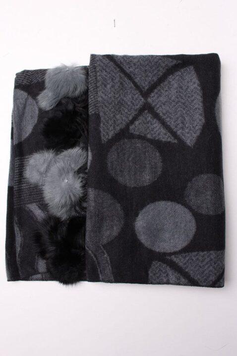 Dunkelgrauer Damen Schal mit Kunstfell-Bommel gemustert - Modeschal von Lil Moon - Detailansicht