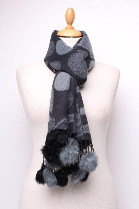 Dunkelgrauer Damen Schal mit Kunstfell-Bommel gemustert - Modeschal von Lil Moon - Ganzansicht