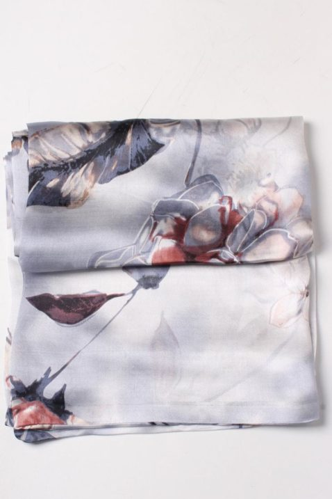 Grauer Damen Seidenschal in floraler Optik - doppelt genäht von Lil Moon - Detailansicht