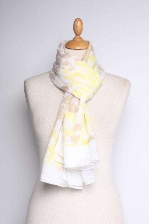 Gelber leichter Damen Schal in Flecken-Optik - Batik Modeschal von Lil Moon - Ganzansicht