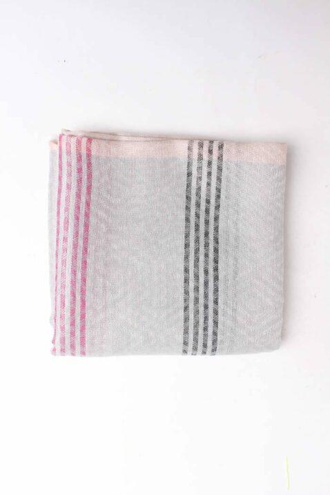 Grau taupe beiger gemusterter & gestreifter Damen Schal zweifarbig - Modeschal von Lil Moon - Detailansicht