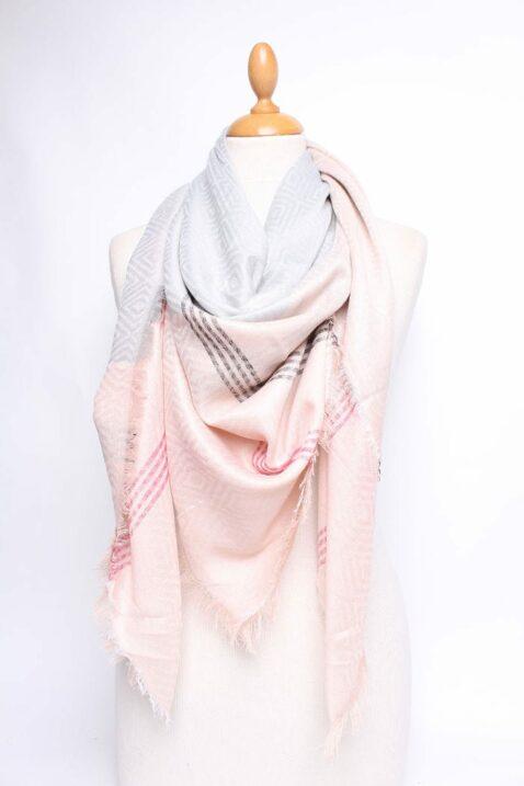 Grau taupe beiger gemusterter & gestreifter Damen Schal zweifarbig - Modeschal von Lil Moon - Ganzansicht