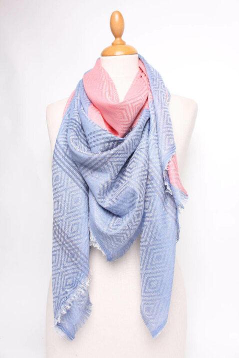 Rosa koralle blau gemusterter & gestreifter Damen Schal zweifarbig - Modeschal von Lil Moon - Ganzansicht