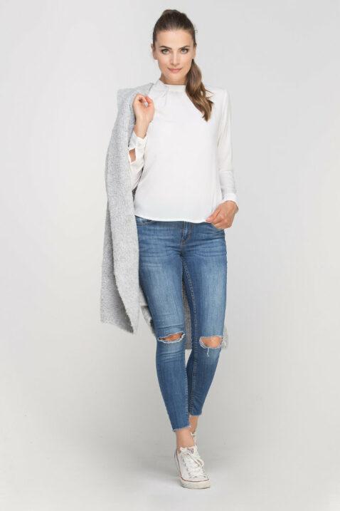 Grauer Damen Longcardigan mit Taschen - Strickjacke lang von Lanti - Ganzkörperansicht