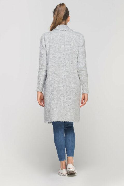 Grauer Damen Longcardigan mit Taschen - Strickjacke lang von Lanti - Rückenansicht