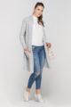 Grauer Damen Longcardigan mit Taschen - Strickjacke lang von Lanti - Seitenansicht