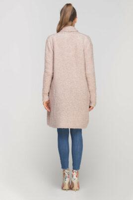 Rosa Damen Longcardigan mit Taschen - Strickjacke lang von Lanti - Rückenansicht