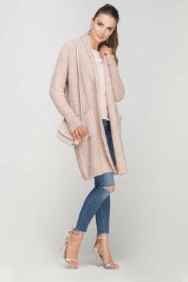 Lanti rosa Damen Longcardigan mit Taschen – Strickjacke lang – Seitenansicht