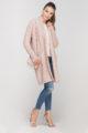 Rosa Damen Longcardigan mit Taschen - Strickjacke lang von Lanti - Seitenansicht